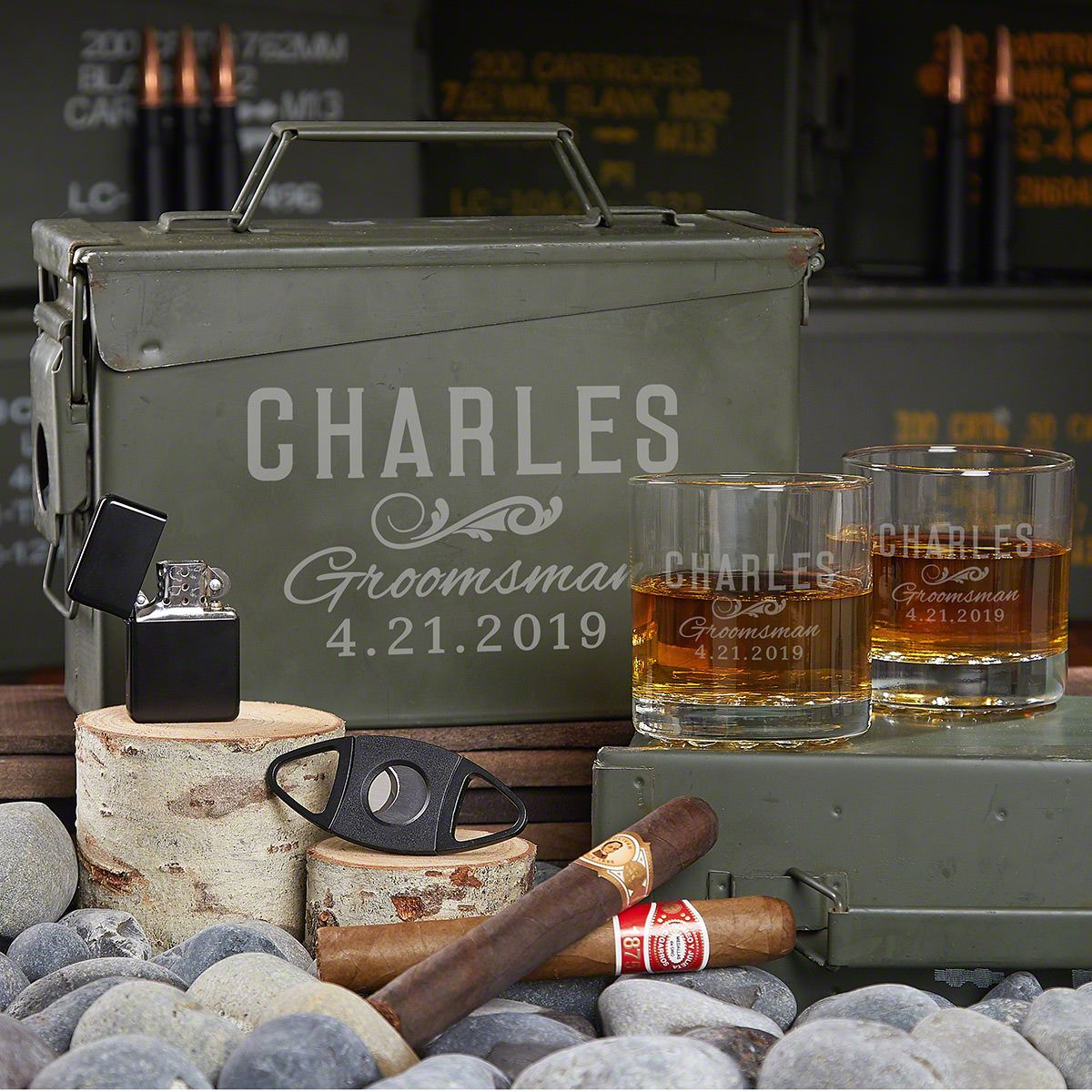 All the Vices Groomsmen Gift Set in Engraved Ammo Can
