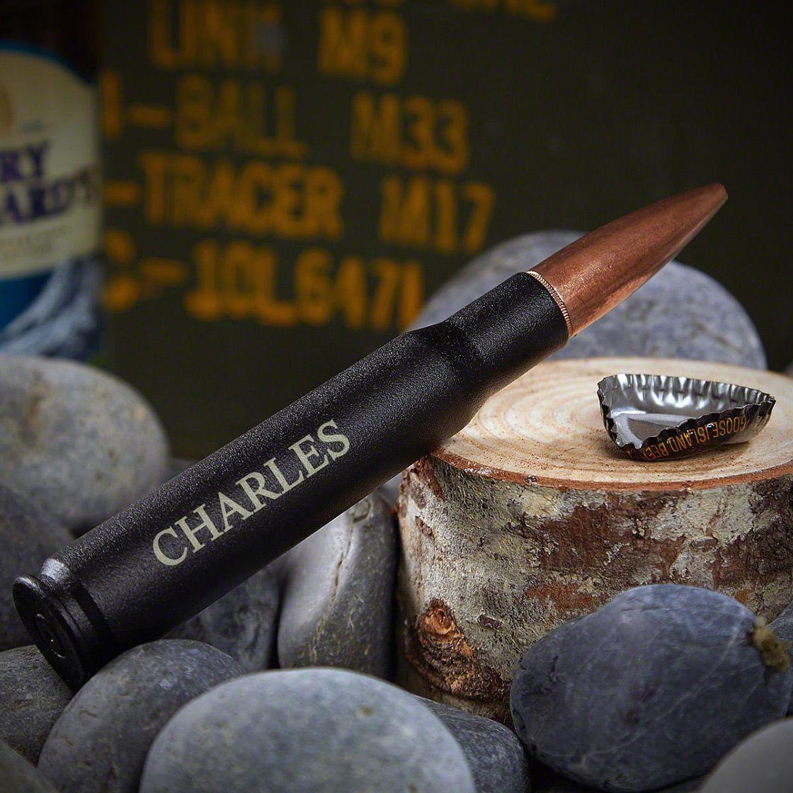 Engraved 50 cal Bullet Bottle Opener Black - Single