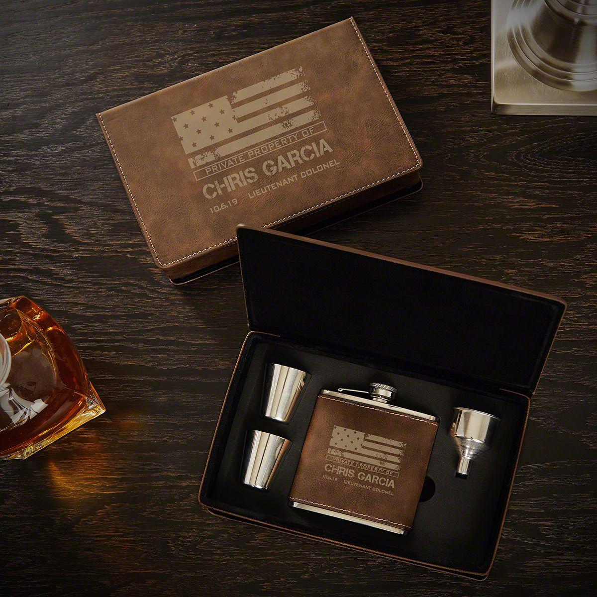 American Heroes Rustic Custom Flask Gift Set for Military