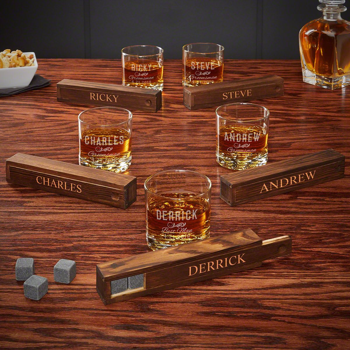 Set of 5 Classic Groomsman Whiskey Sets - Personalized Groomsmen Gifts