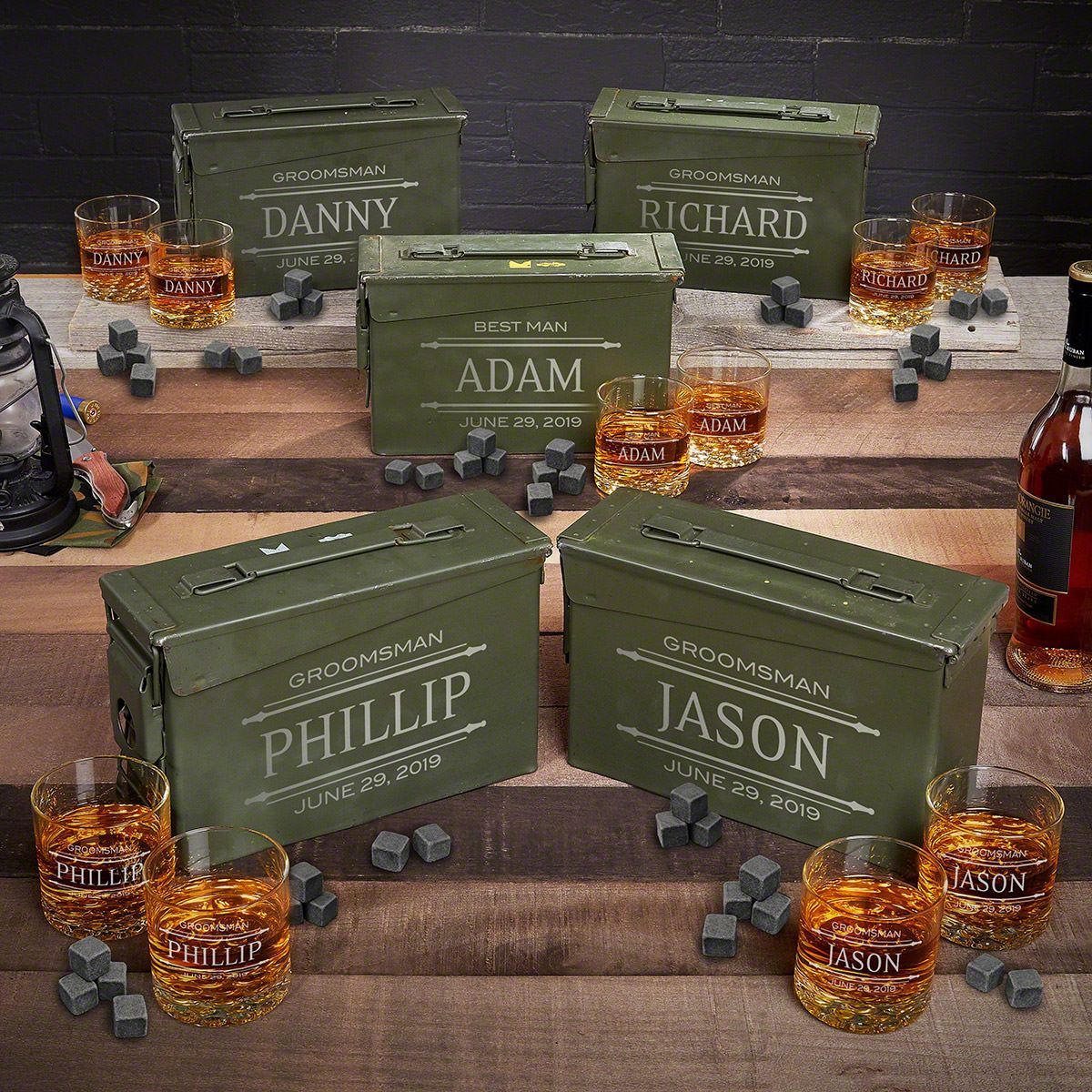 Stanford Engraved Ammo Can Non-Traditional Groomsmen Gifts – Set of 5