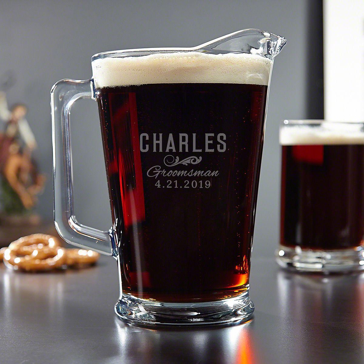 Classic Groomsman Custom Glass Beer Pitcher
