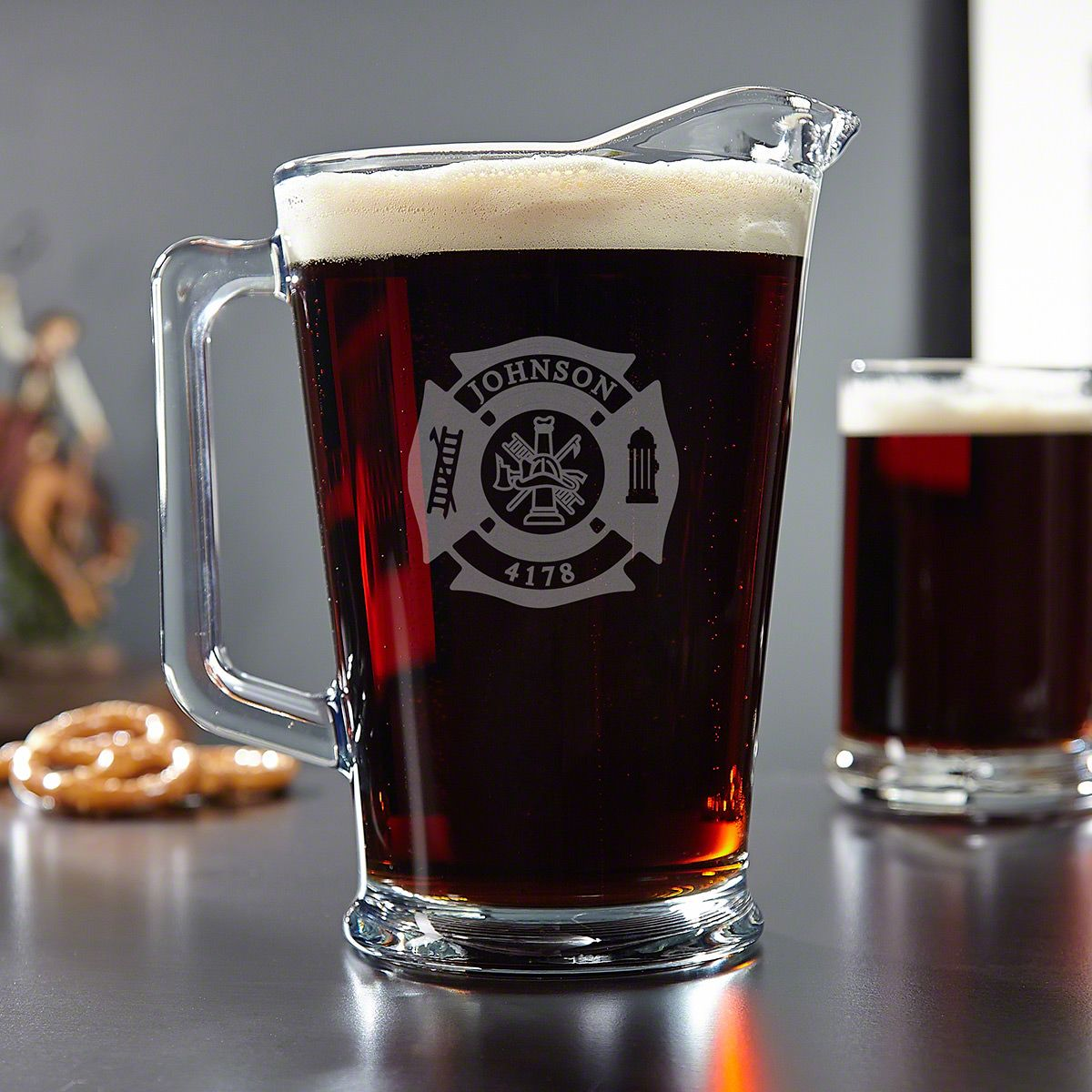Fire & Rescue Personalized Glass Beer Pitcher – Firefighter Gift