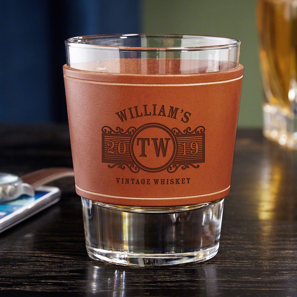 Marquee Engraved Leather Whiskey Glass