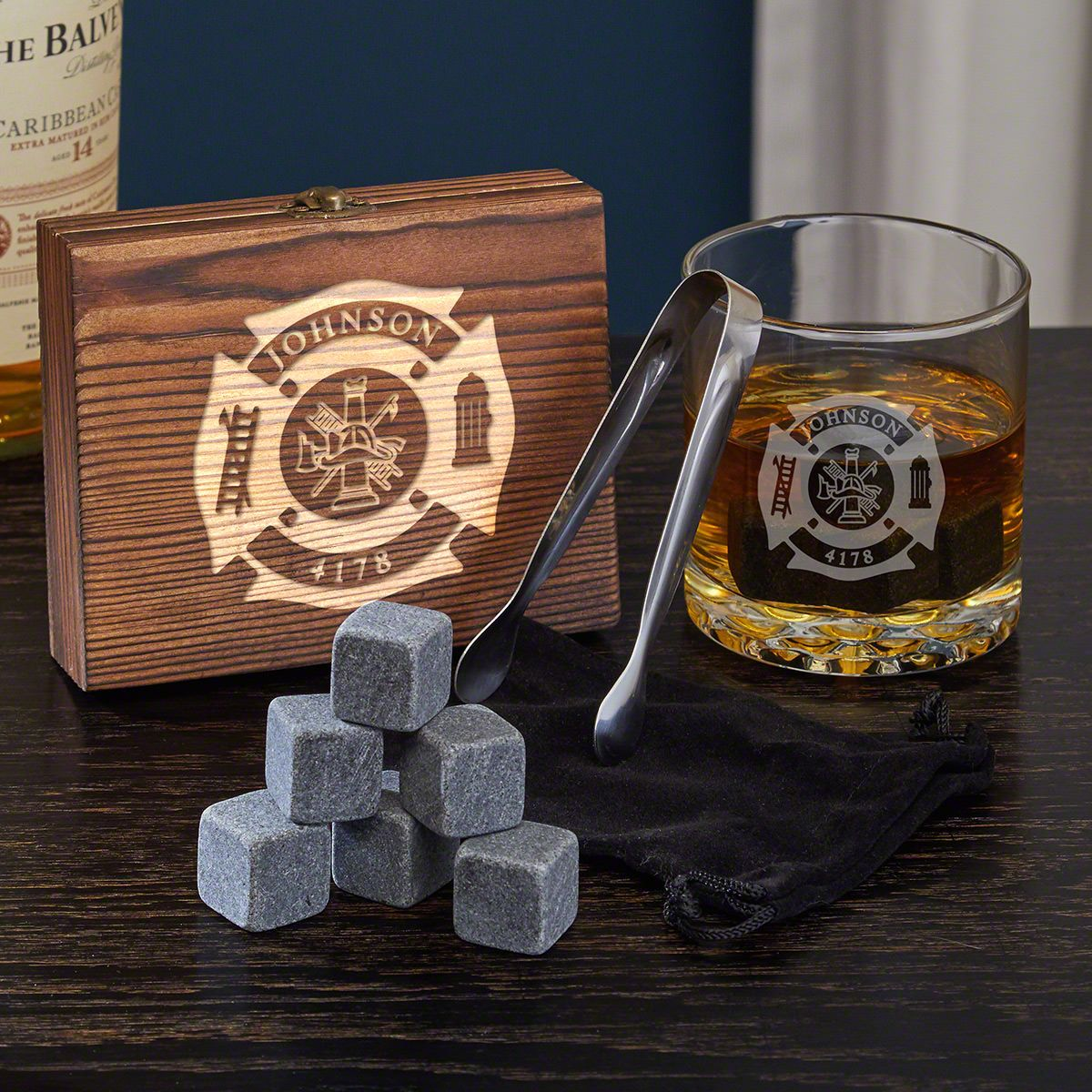 Fire & Rescue Engraved Whiskey Glass Firefighter Gift Set