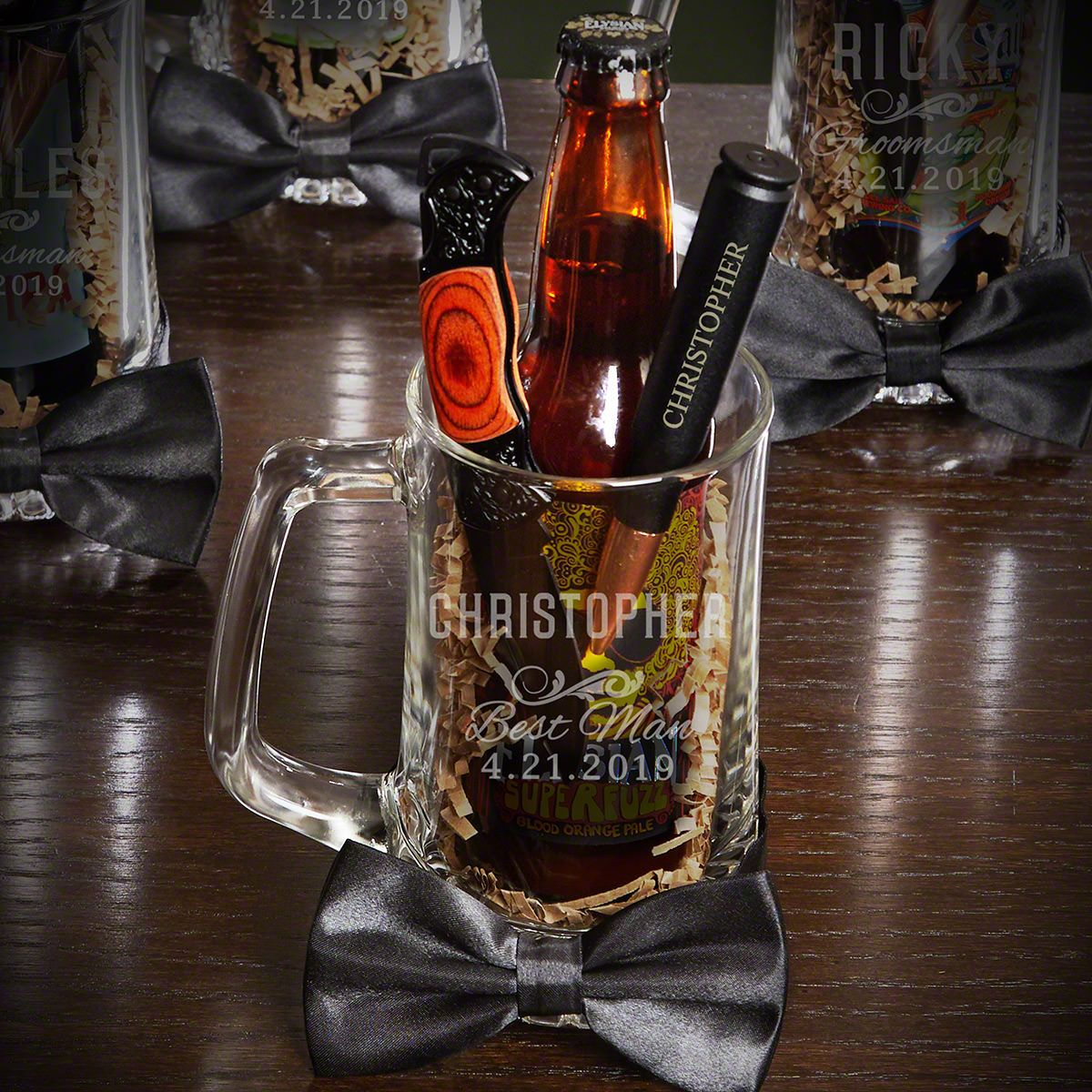 Classic Groomsman Beer Mug Custom Gift Set