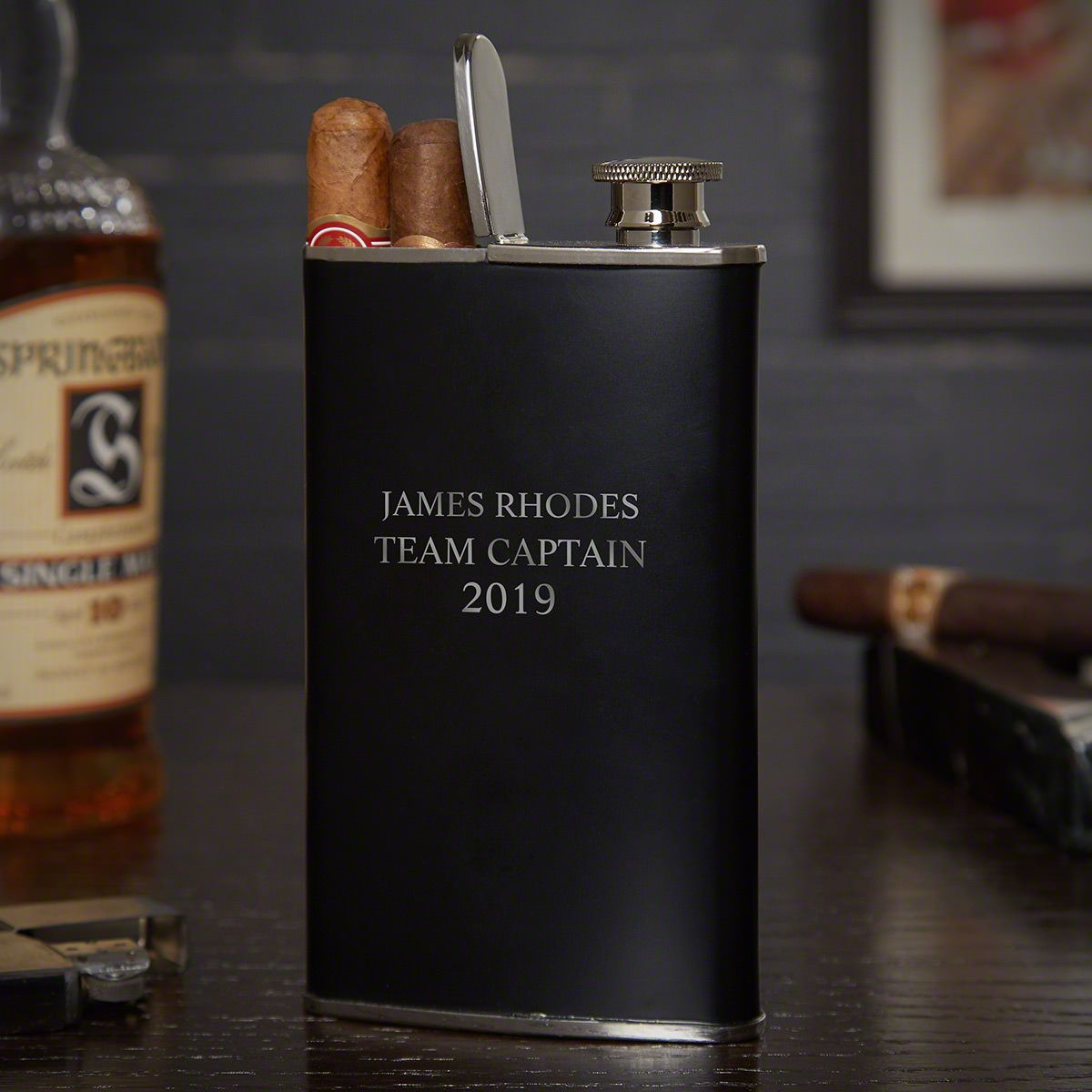 Stainless-Steel Personalized Cigar Holder Flask