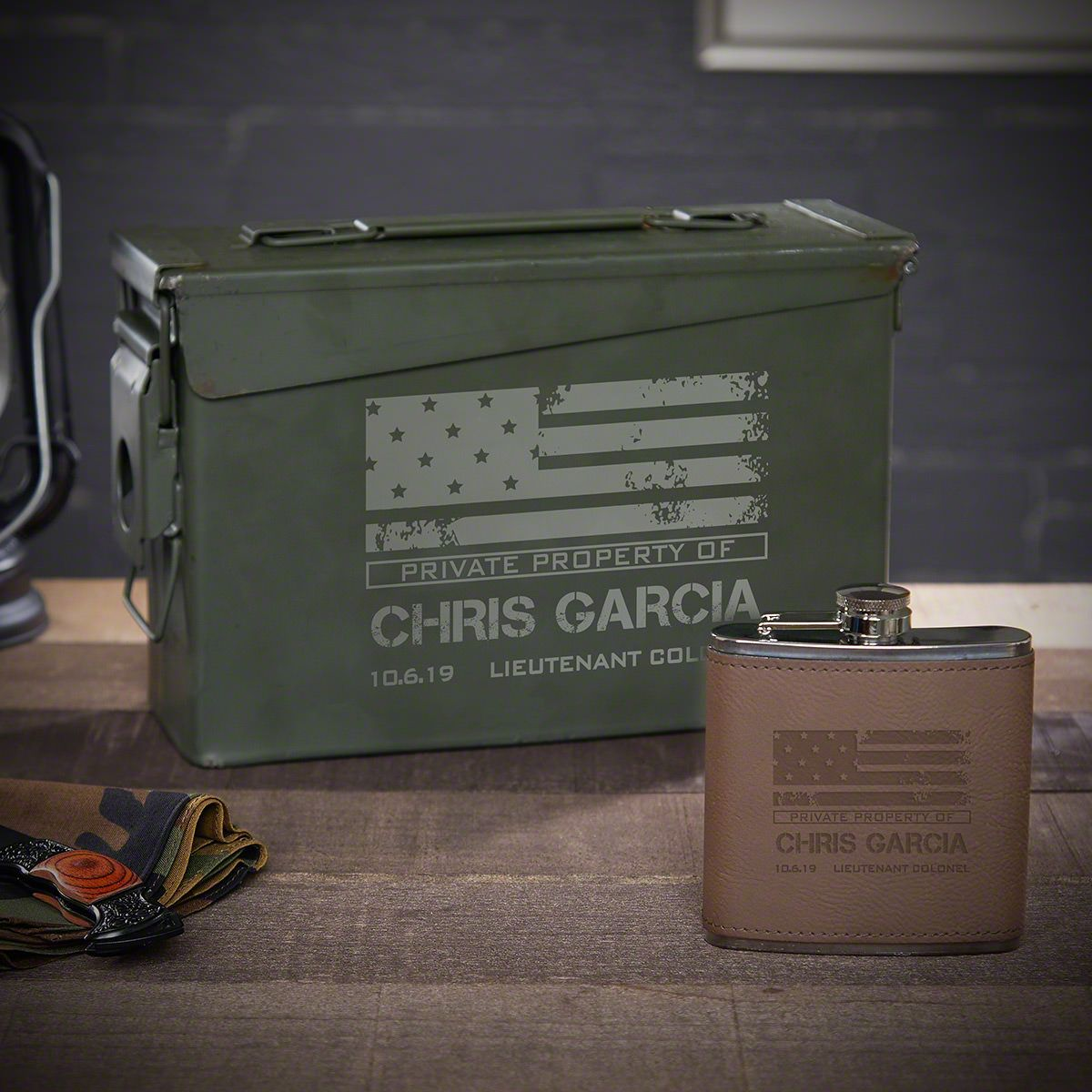 American Heroes Personalized Military Ammo Can Flask Set
