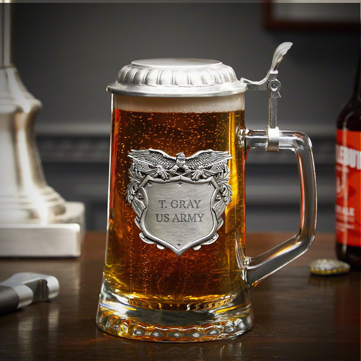 Land of the Brave Engraved Glass Beer Stein Military Gift