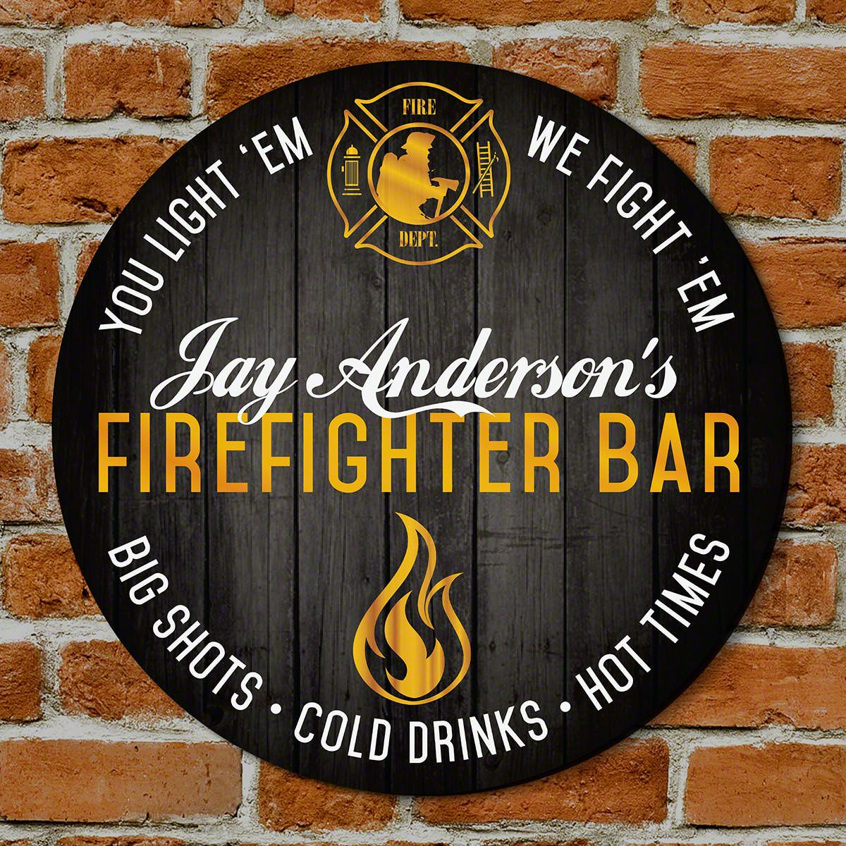 Fired Up Custom Bar Sign - Gift for Firefighters