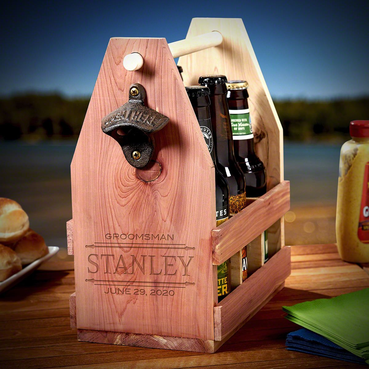 Stanford Custom Wooden Beer Caddy – Gift for Groomsmen