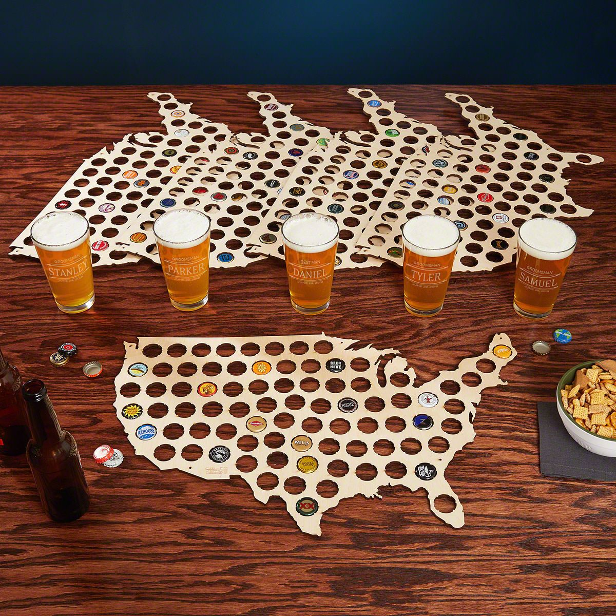 Stanford Custom Pint Glasses & Beer Cap Maps – Set of 5 Gifts for Groomsmen