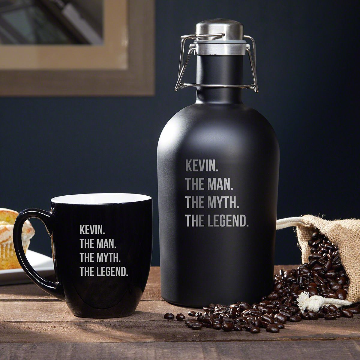 Man Myth Legend Custom Stainless Steel Coffee Carafe Mug Set