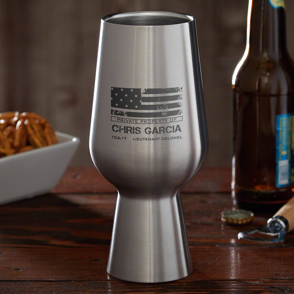 American Heroes Personalized Stainless Steel Pint Glass - Military Gift