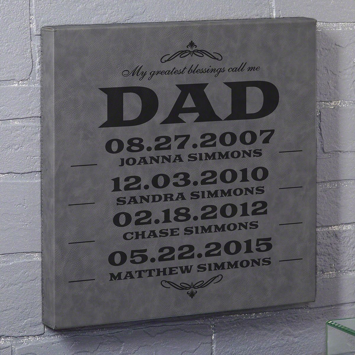 Dad's Greatest Blessings Gray Custom Leatherette Canvas - Gift for Dad