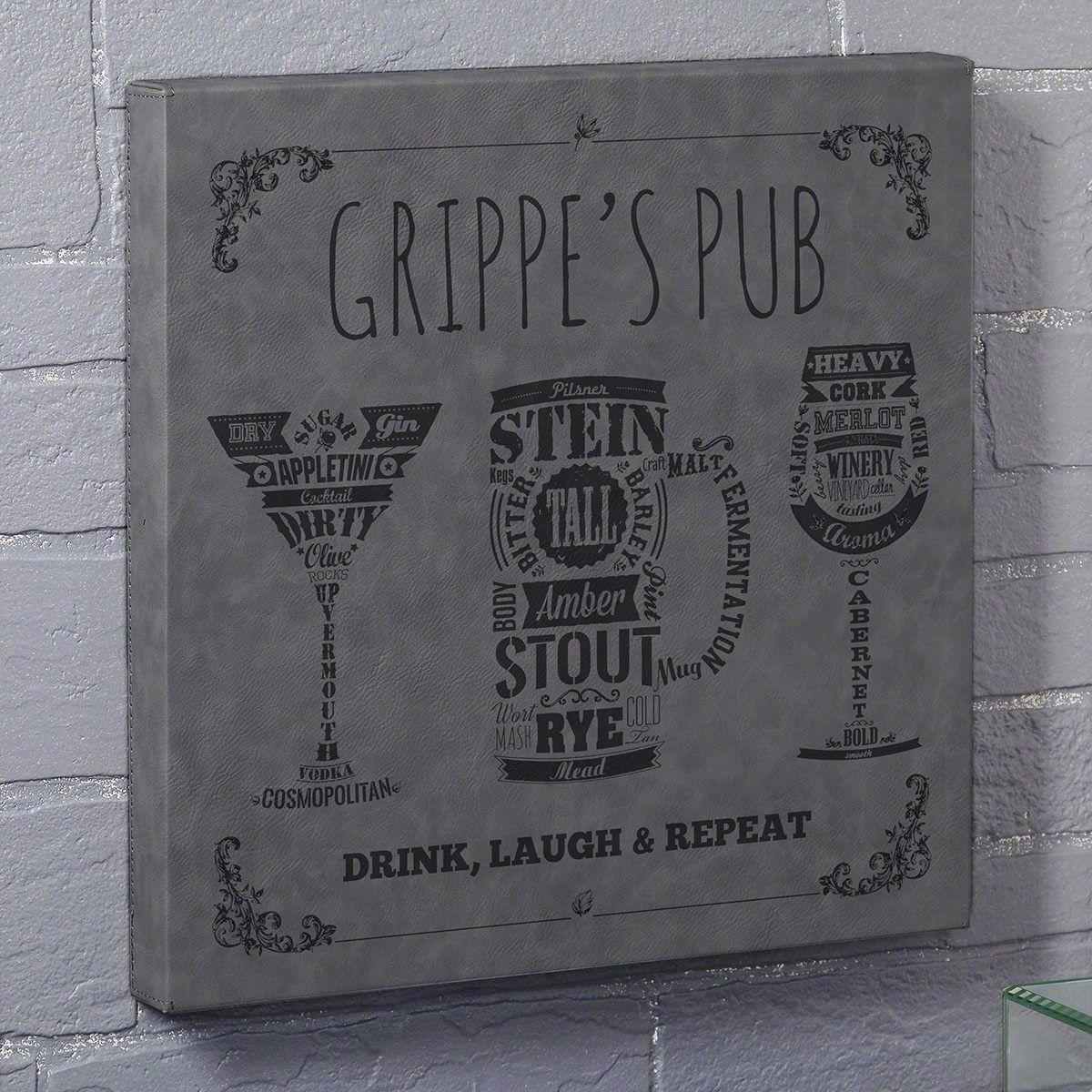 Modern Spirits Gray Leatherette Canvas Custom Bar Sign