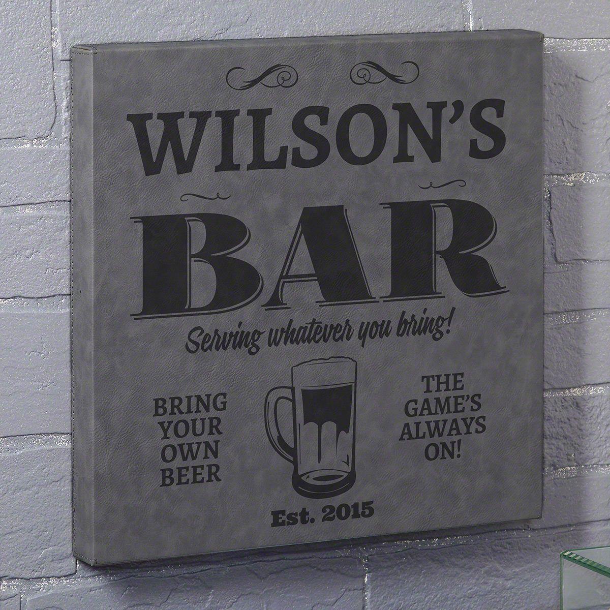 Neighborhood Bar Gray Leatherette Canvas Custom Bar Sign
