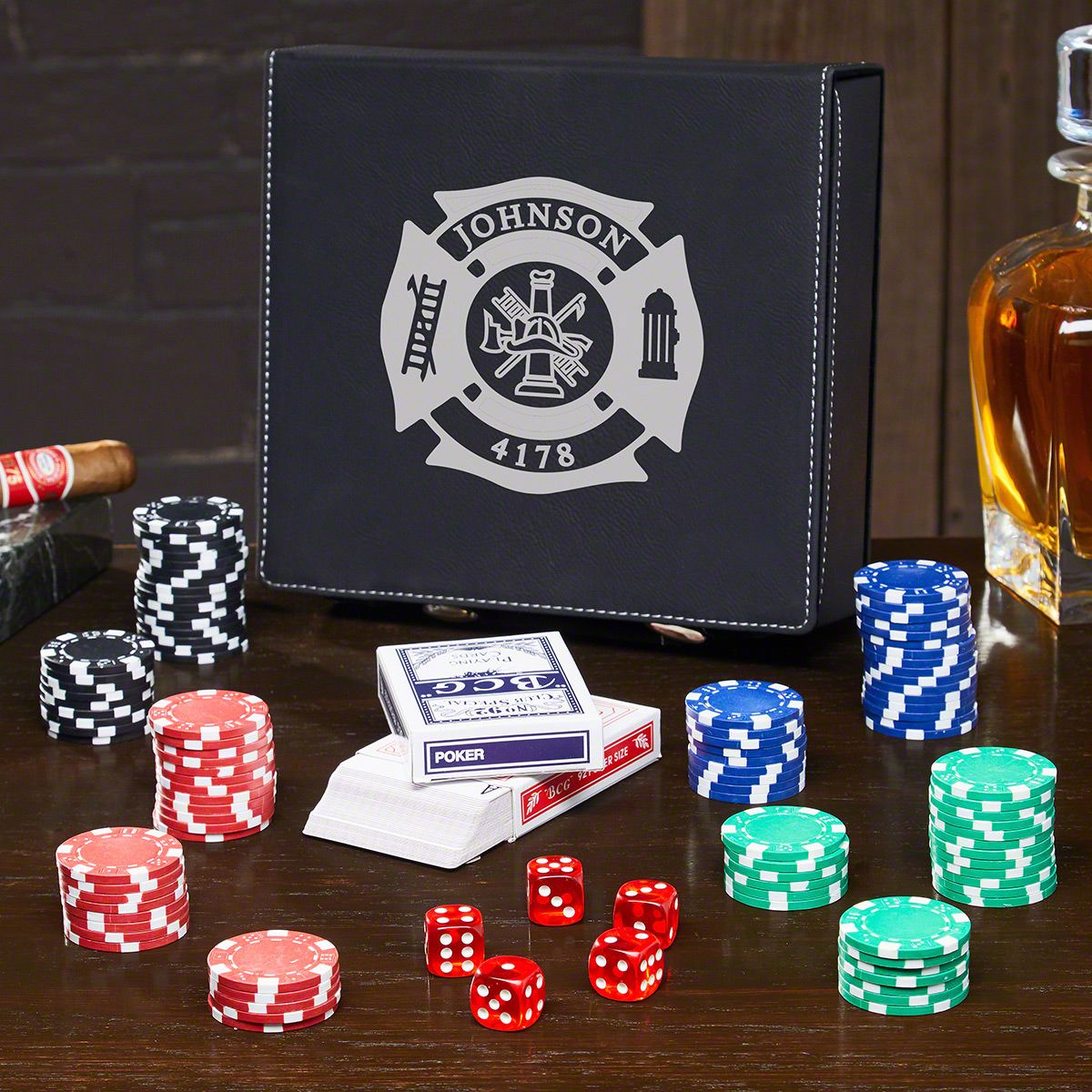 Fire & Rescue Custom Poker Set – Gift for Firefighters