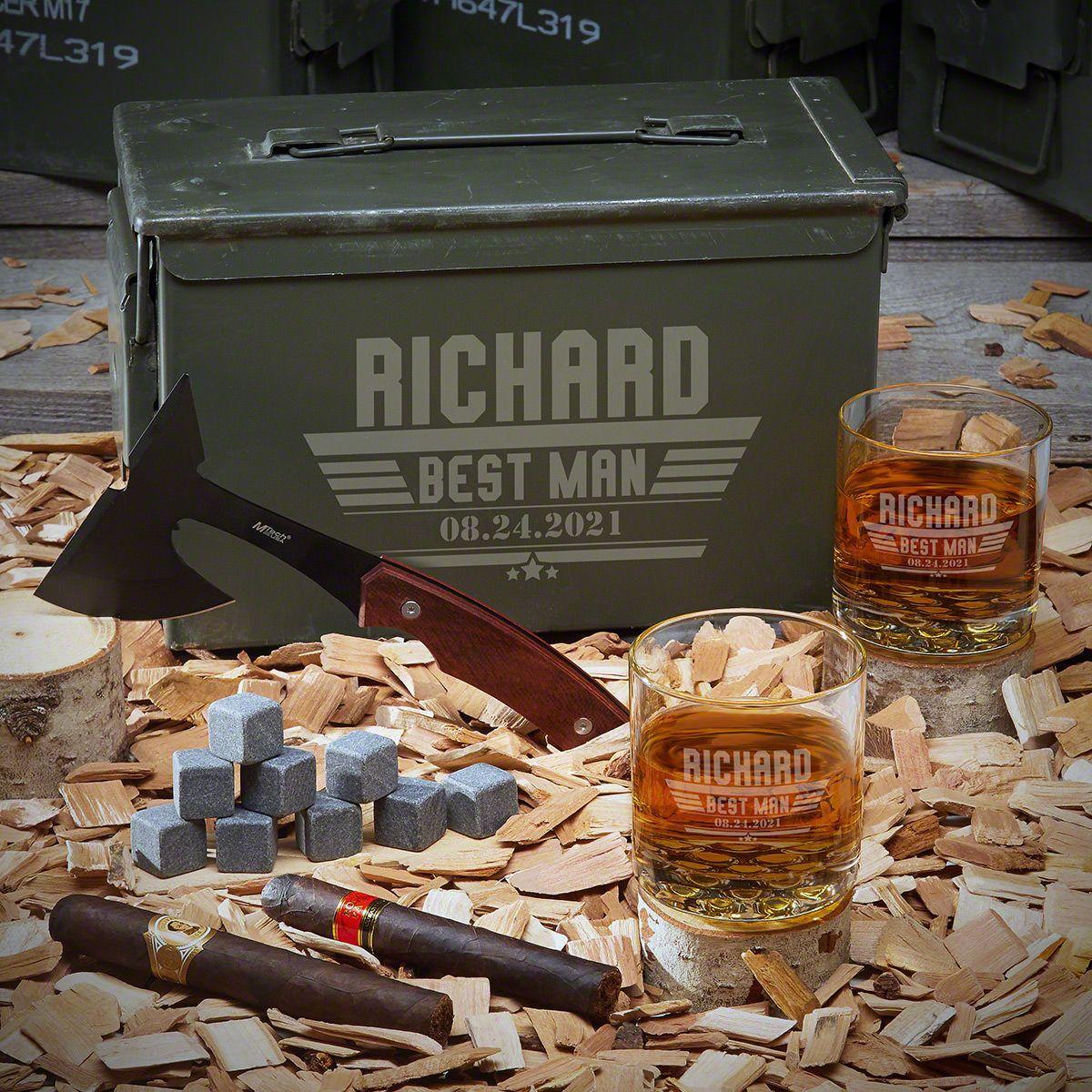 Maverick Personalized 50 Cal Ammo Can Set - Groomsmen Gift