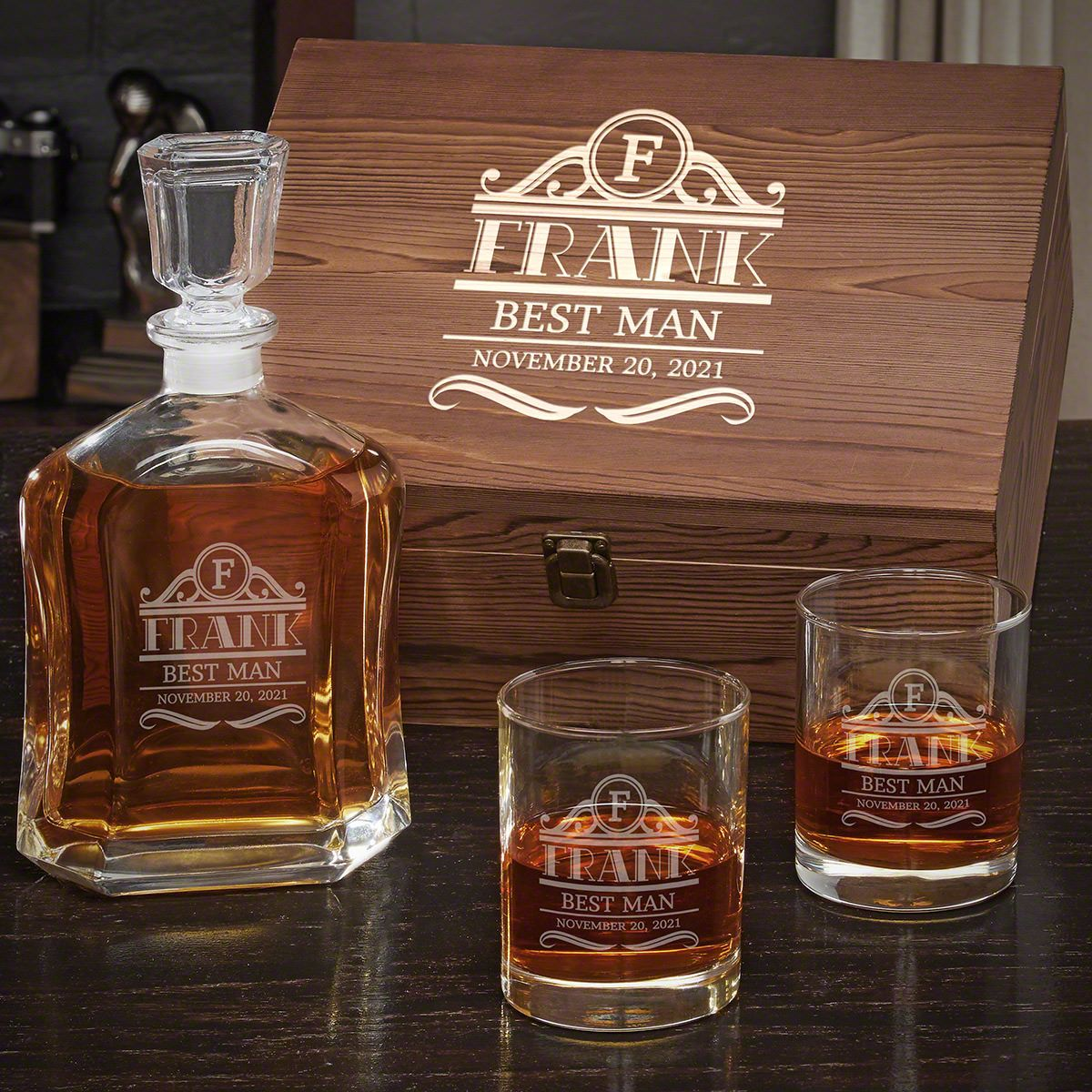 Rockefeller Personalized Argos Decanter Whiskey Gift Set with Eastham Glasses