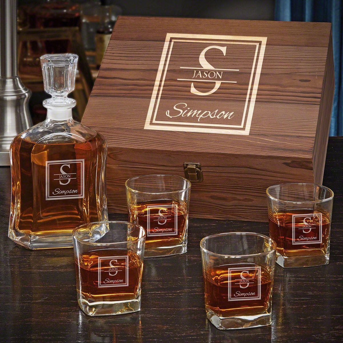 Oakhill Custom Argos Decanter Whiskey Gift Set for Men with Square Rocks Glasses