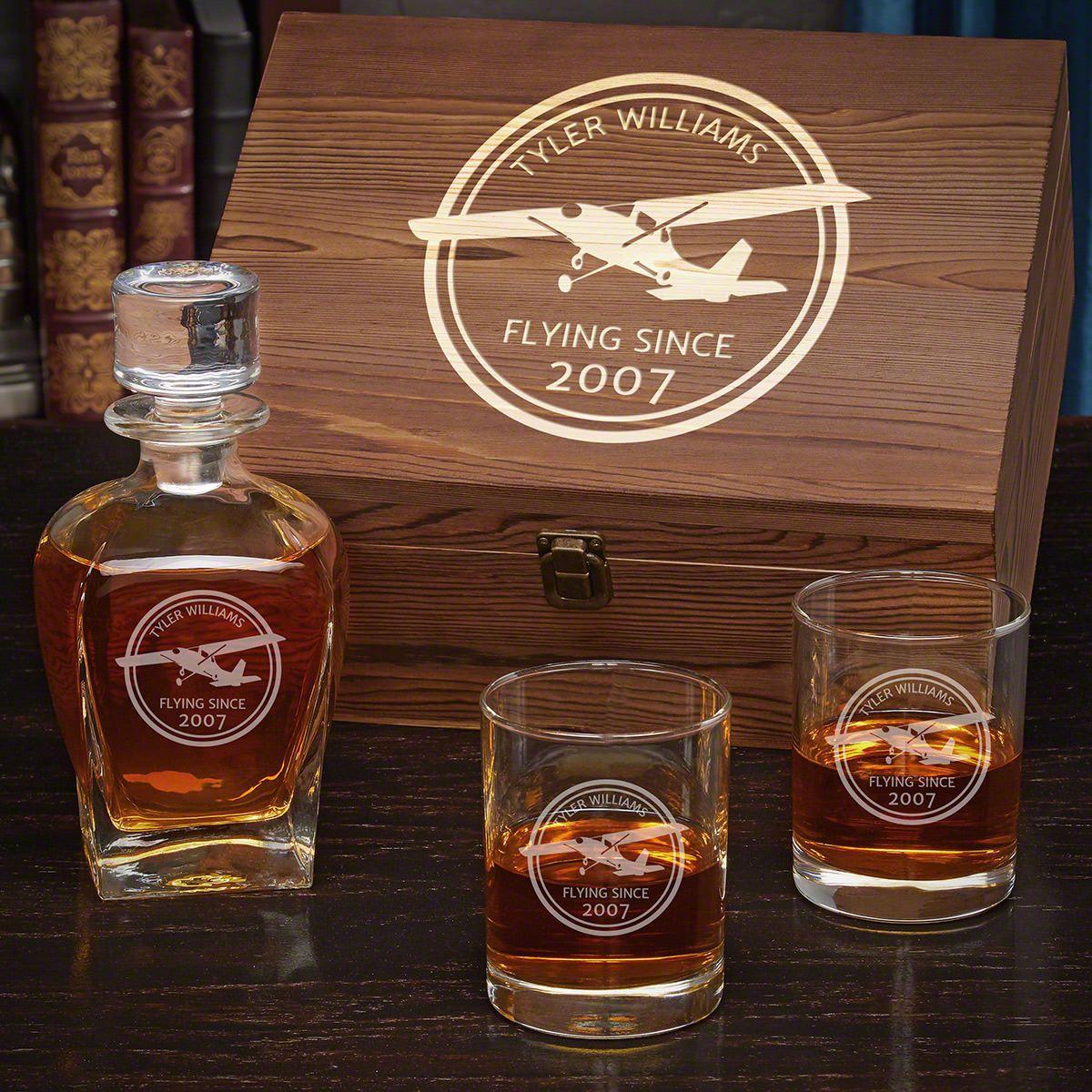 Aviator Custom Draper Decanter Whiskey Box Set with Eastham Glasses - Gift for Pilots