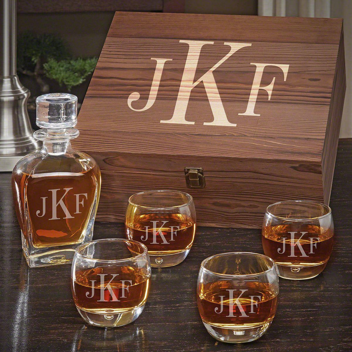 Classic Monogram Personalized Liquor Draper Decanter Set with Uptown Glasses