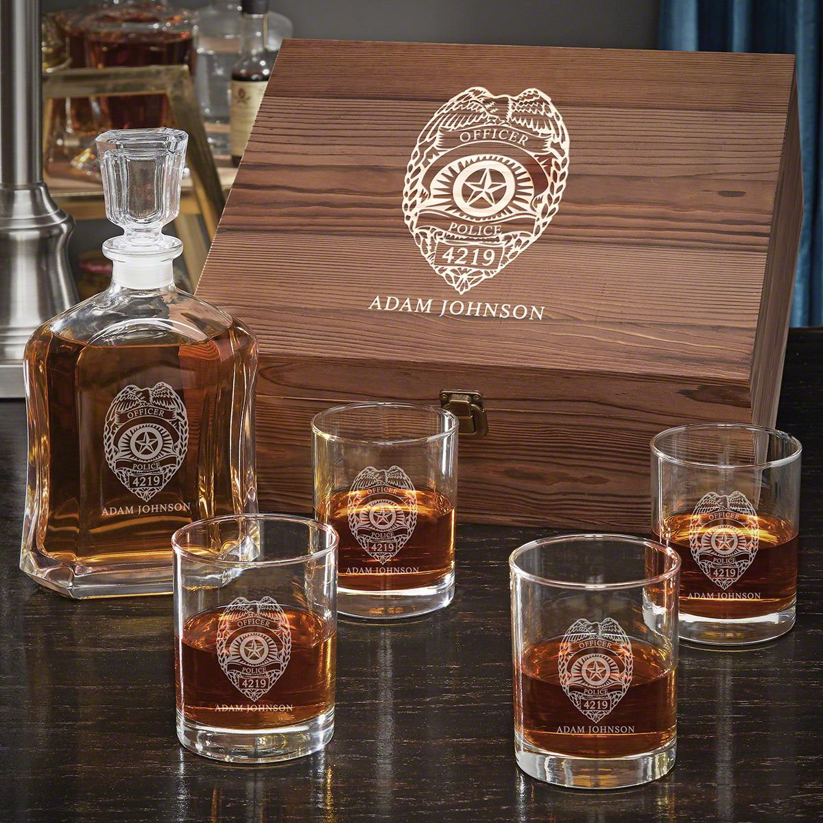 Police Badge Personalized Whiskey Argos Decanter with Eastham Glasses - Gift Set for Police