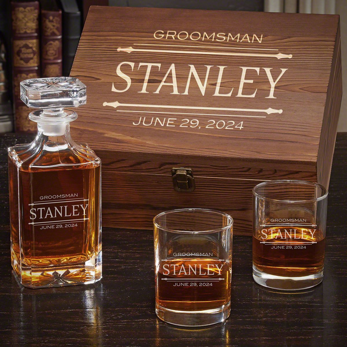 Stanford Personalized Whiskey Carson Decanter Set with Eastham Glasses - Gift for Groomsmen