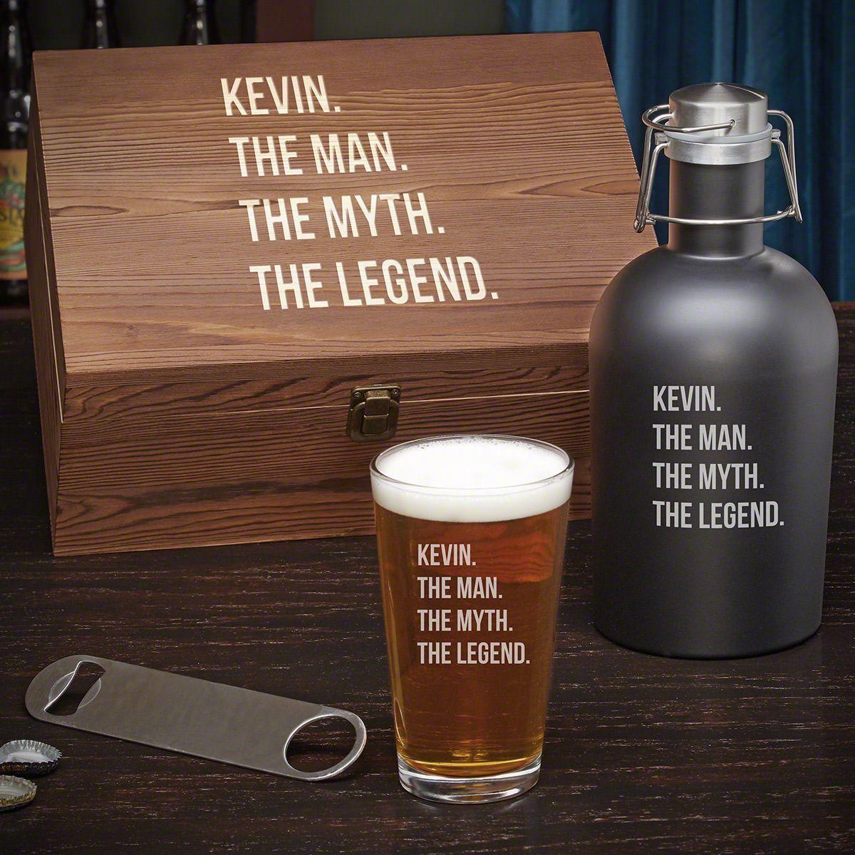 Man Myth Legend Personalized Beer Growler Gift Set for Men