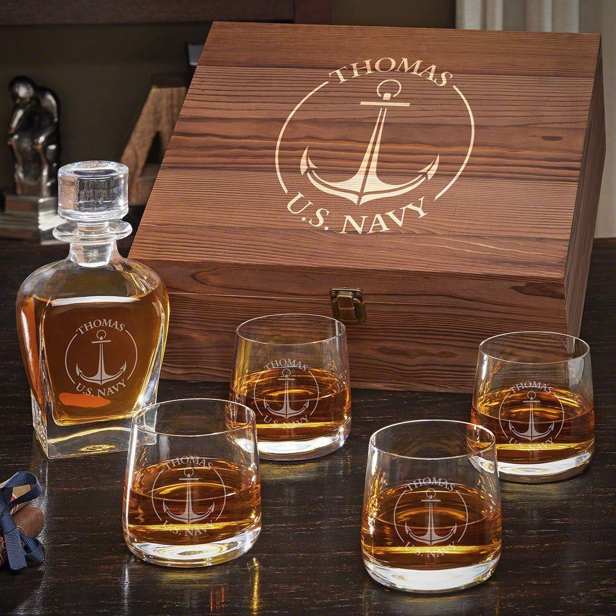 Naval Anchor Draper Decanter Custom Whiskey Set with Benson Glasses - Gift for Navy