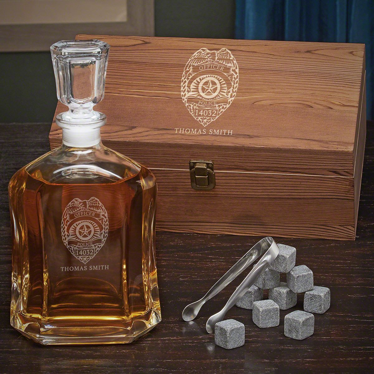 Police Badge Personalized Whiskey Argos Decanter Set - Gift for Police Officers