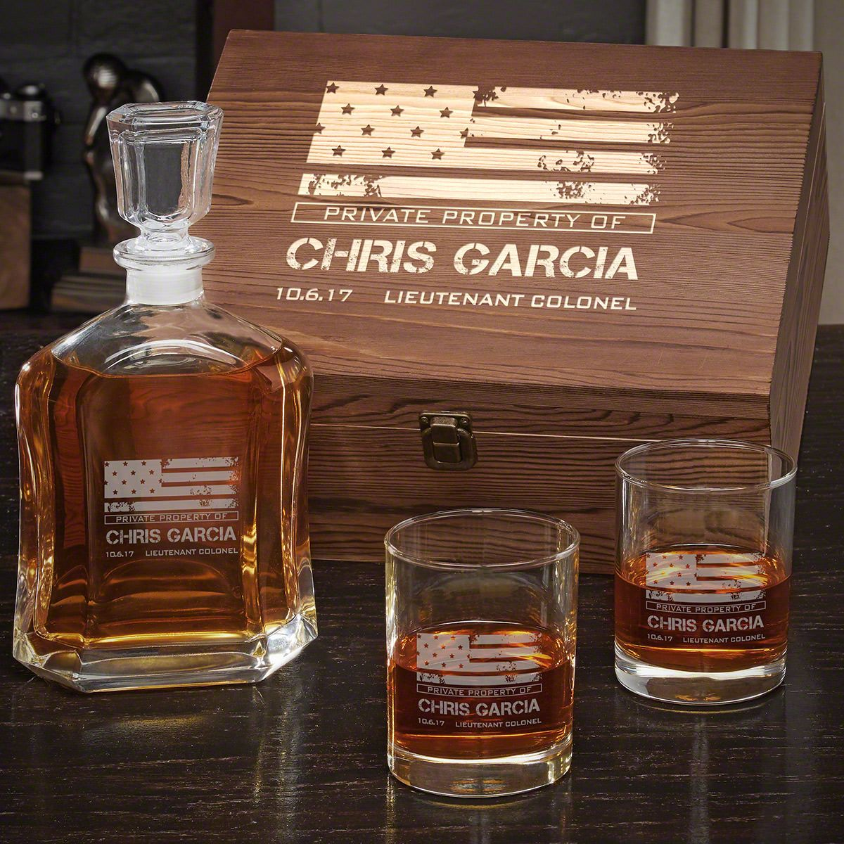 American Heroes Custom Argos Decanter Whiskey Military Gift Set with Eastham Glasses