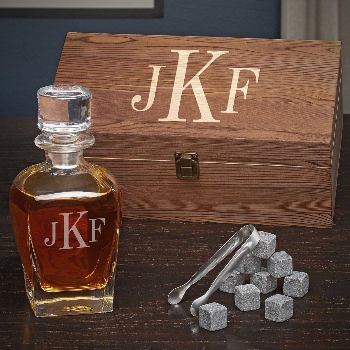 Classic Monogram Personalized Whiskey Draper Decanter Set
