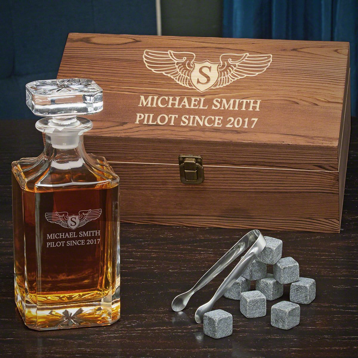 Take Flight Personalized Whiskey Carson Decanter Set - Gift for Pilots
