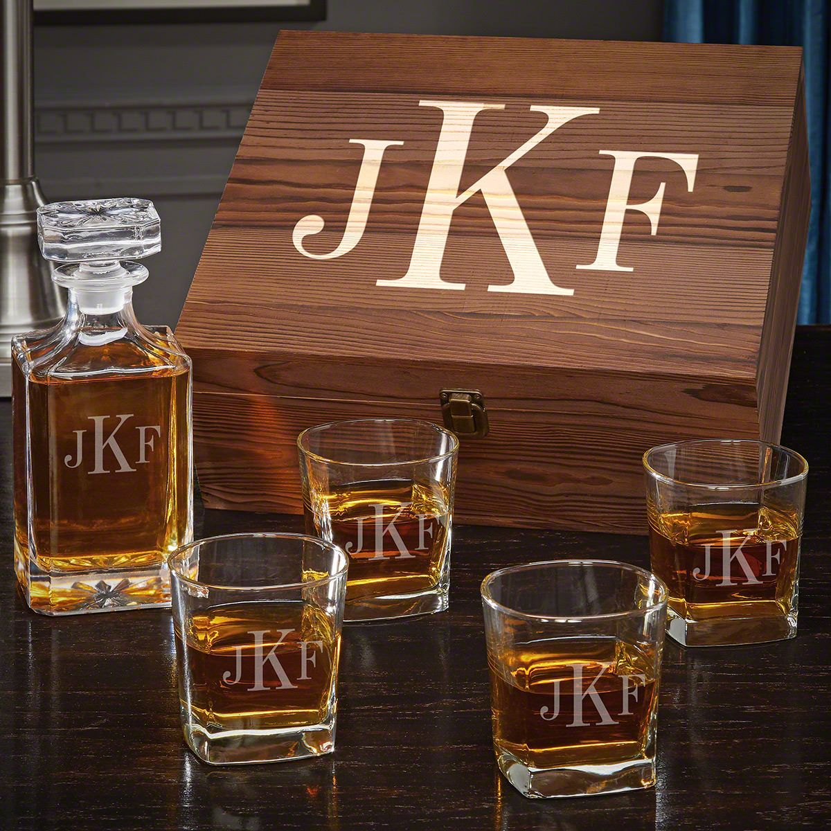 Classic Monogram Carson Decanter Personalized Whiskey Gift Set with Square Rocks Glasses