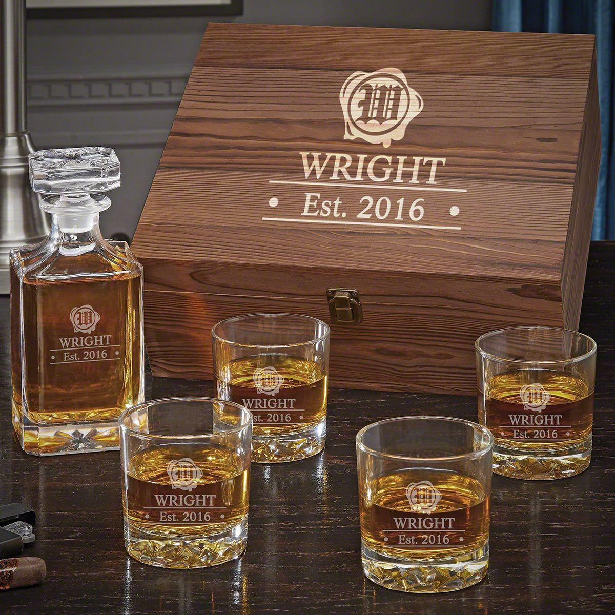 Wax Seal Carson Decanter Personalized Whiskey Box Set with Fairbanks Glasses
