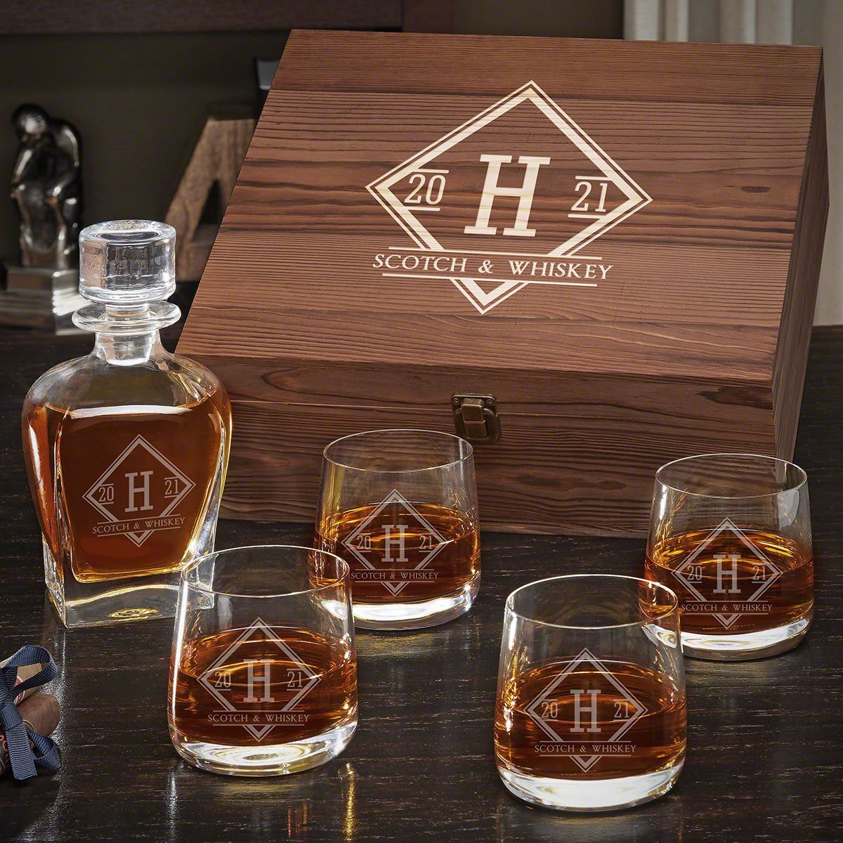 Drake Personalized Whiskey Draper Decanter Set with Benson Glasses