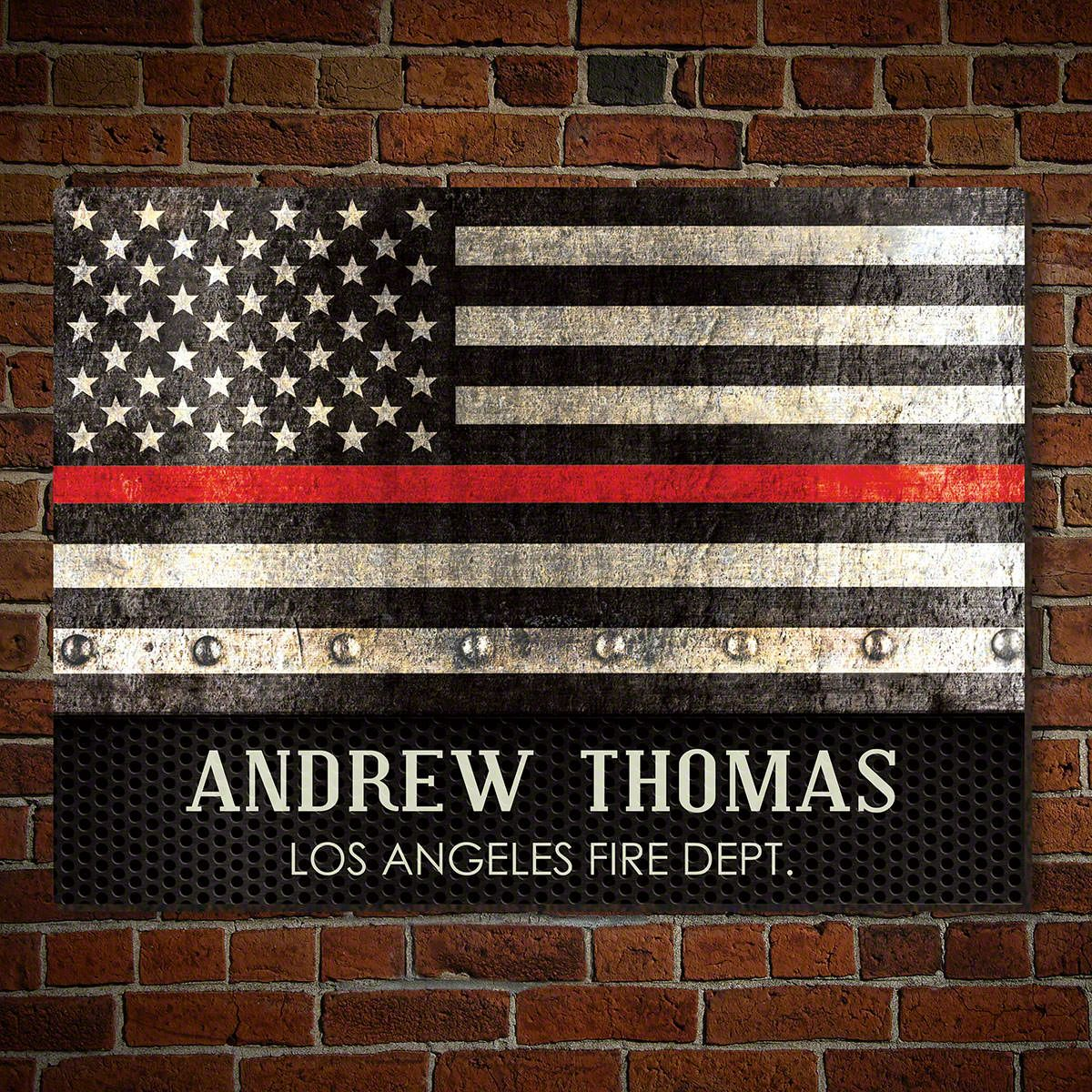 Thin Red Line Personalized Sign