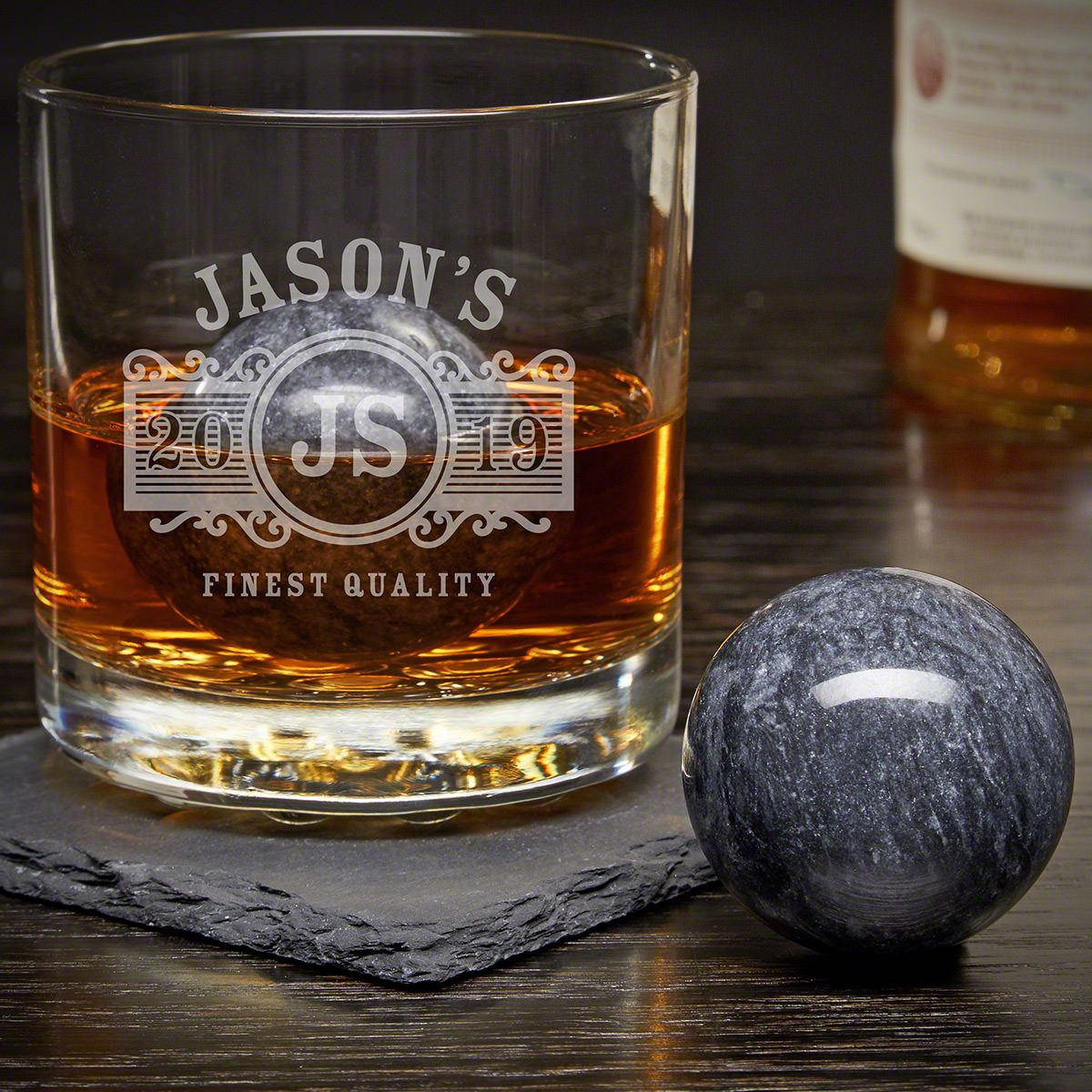 Marquee Personalized Rocks Glass with Whiskey Spheres