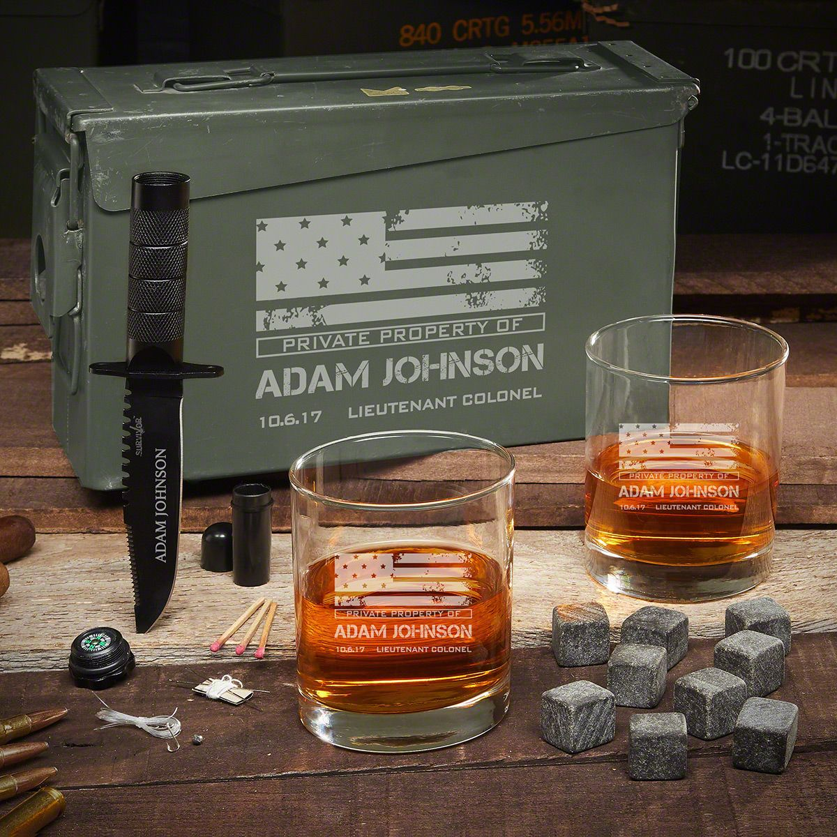 American Heroes 30 Caliber Personalized Military Gift Set