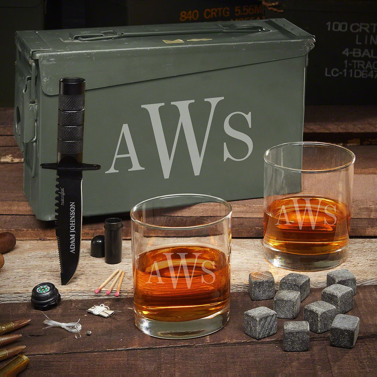 Classic Monogram Personalized 30 Cal Ammo Can Whiskey Gift Set