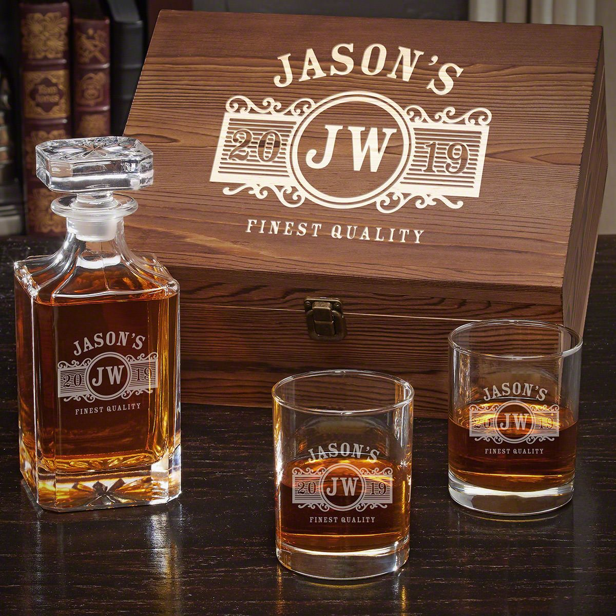 Marquee Personalized Whiskey Gift Set with Carson Decanter and Eastham Glasses