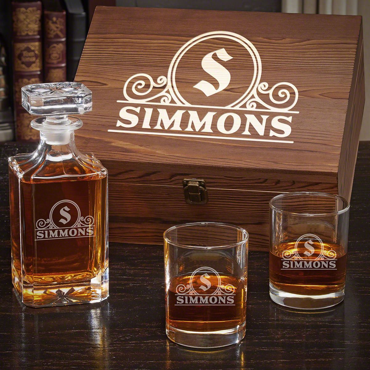Canton Engraved Whiskey Decanter Set with Carson Decanter and Eastham Glasses