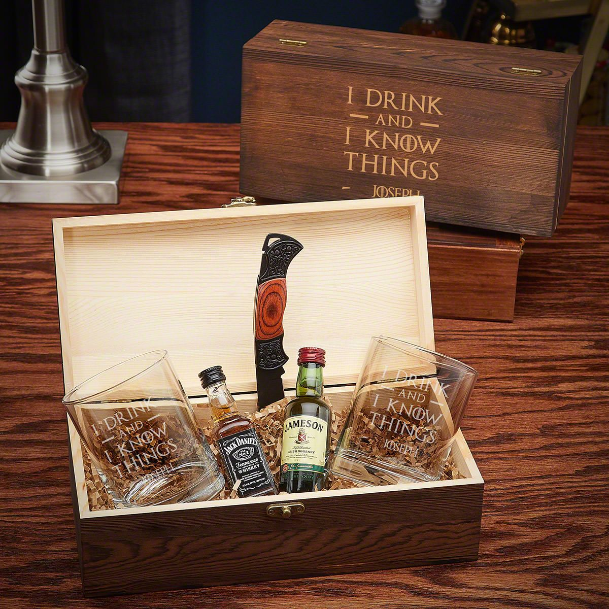 I Drink And I Know Things Personalized Whiskey Gift Set with Eastham Glasses