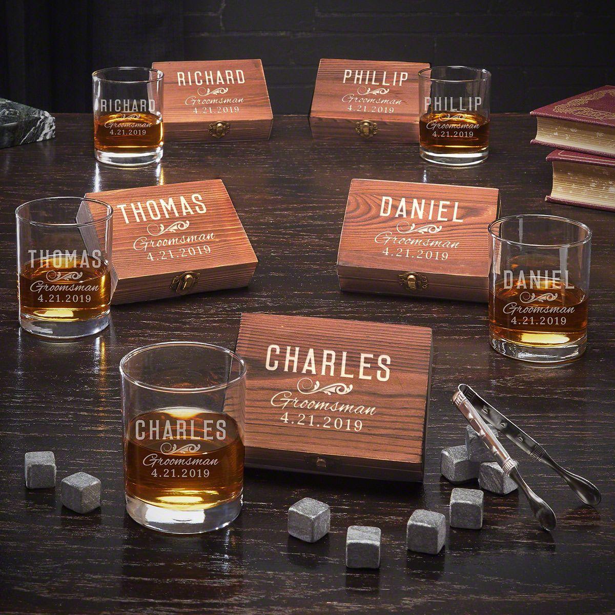 Classic Groomsman Personalized Whiskey Box Set of 5 Groomsmen Gifts
