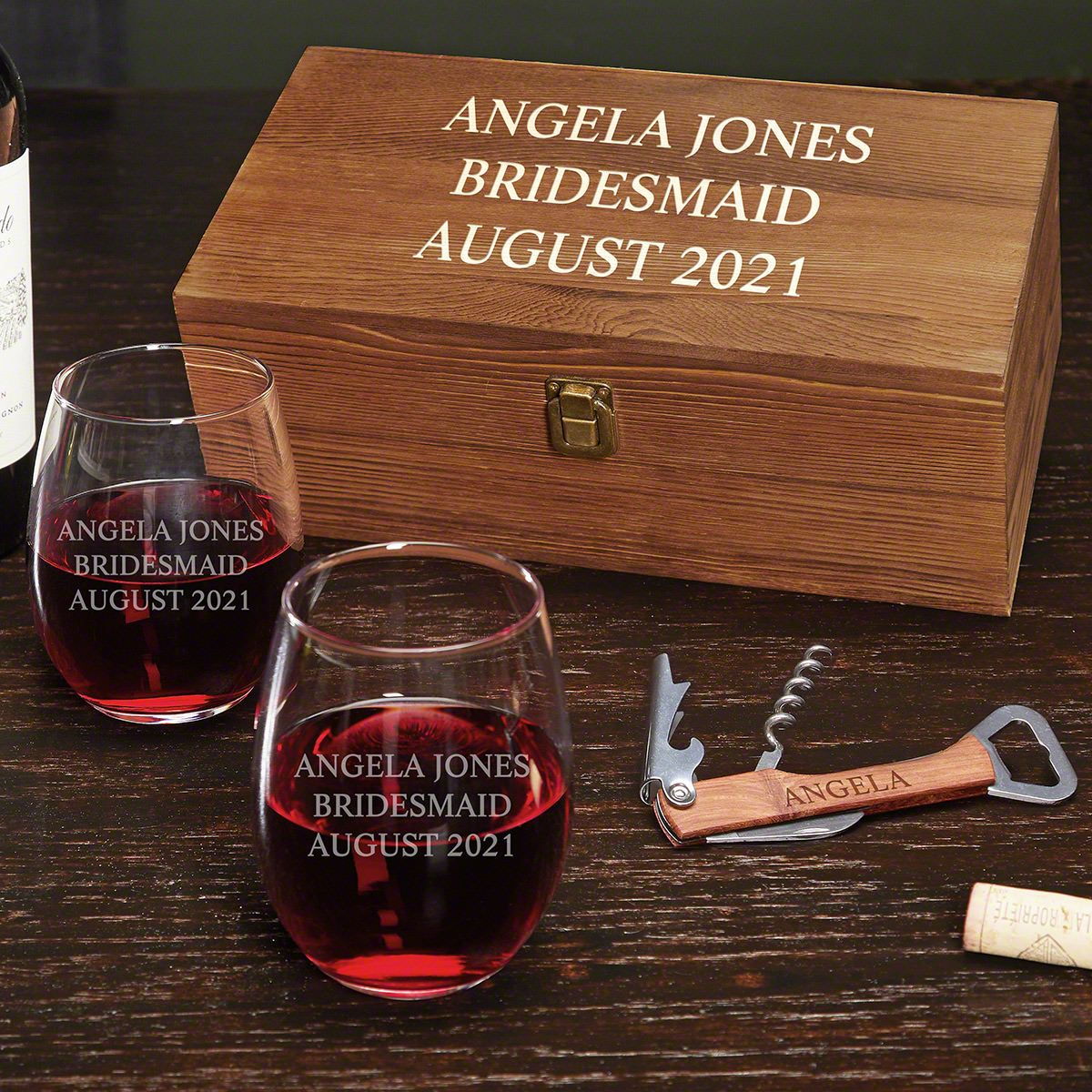 Personalised Wine Lovers Bamboo Storage Box and 4 Piece Wine Set Engraved Gift