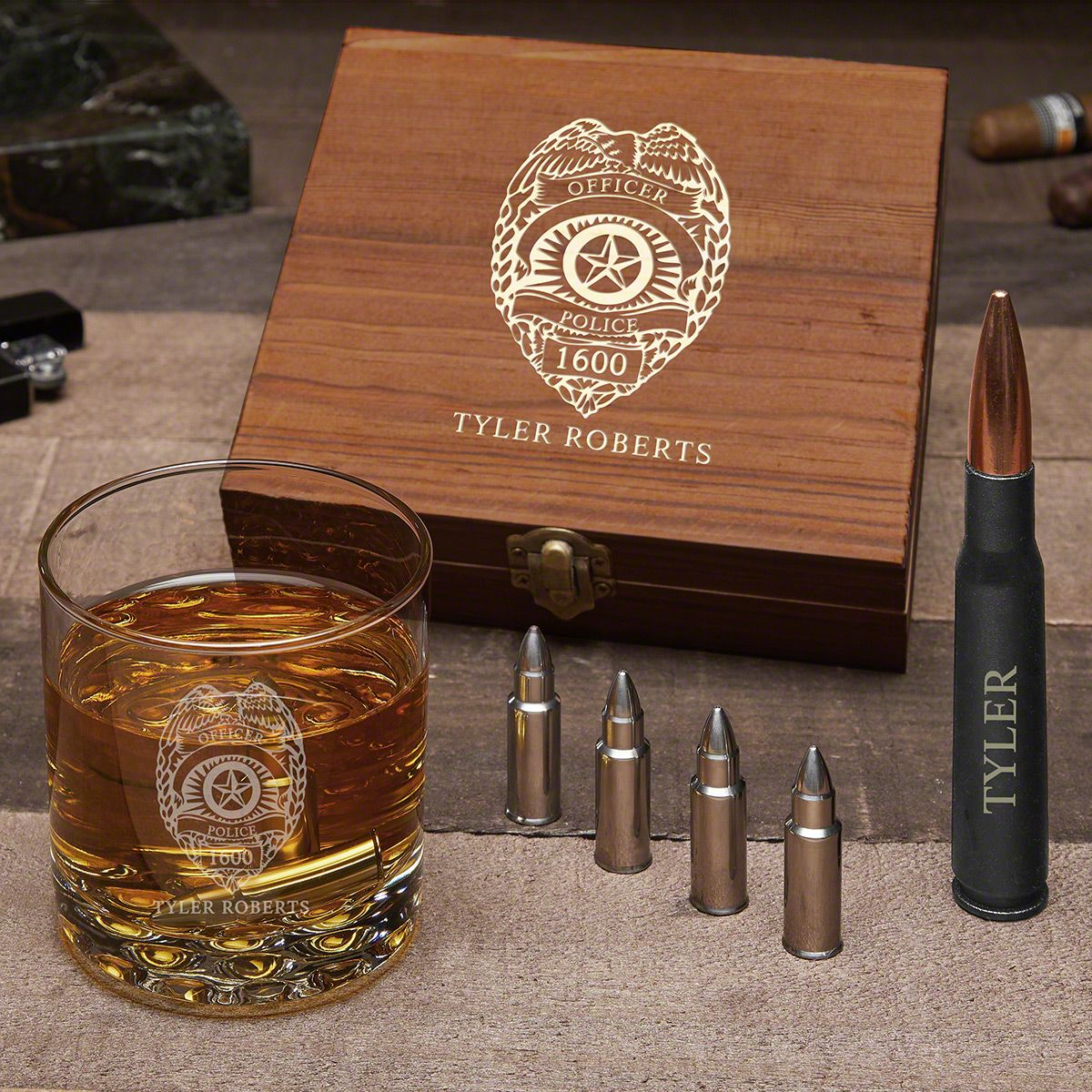 Police Badge Personalized Gun-Themed Whiskey Gift for Cops with Buckman Glass