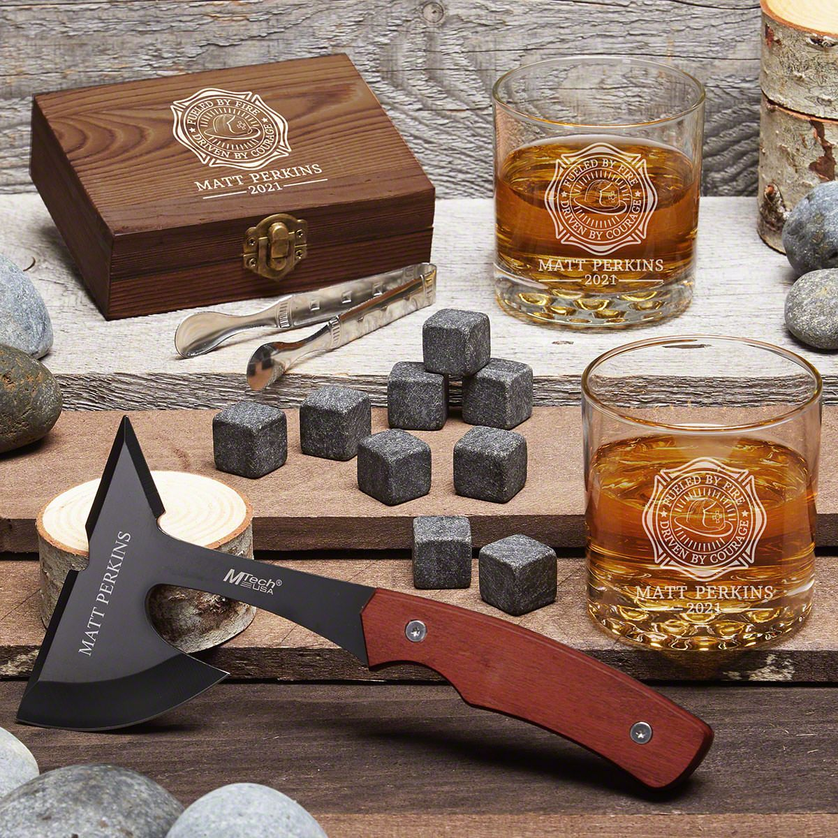 Rustic Adventure Fueled By Fire Custom Axe & Whiskey Set – Firefighter Gift