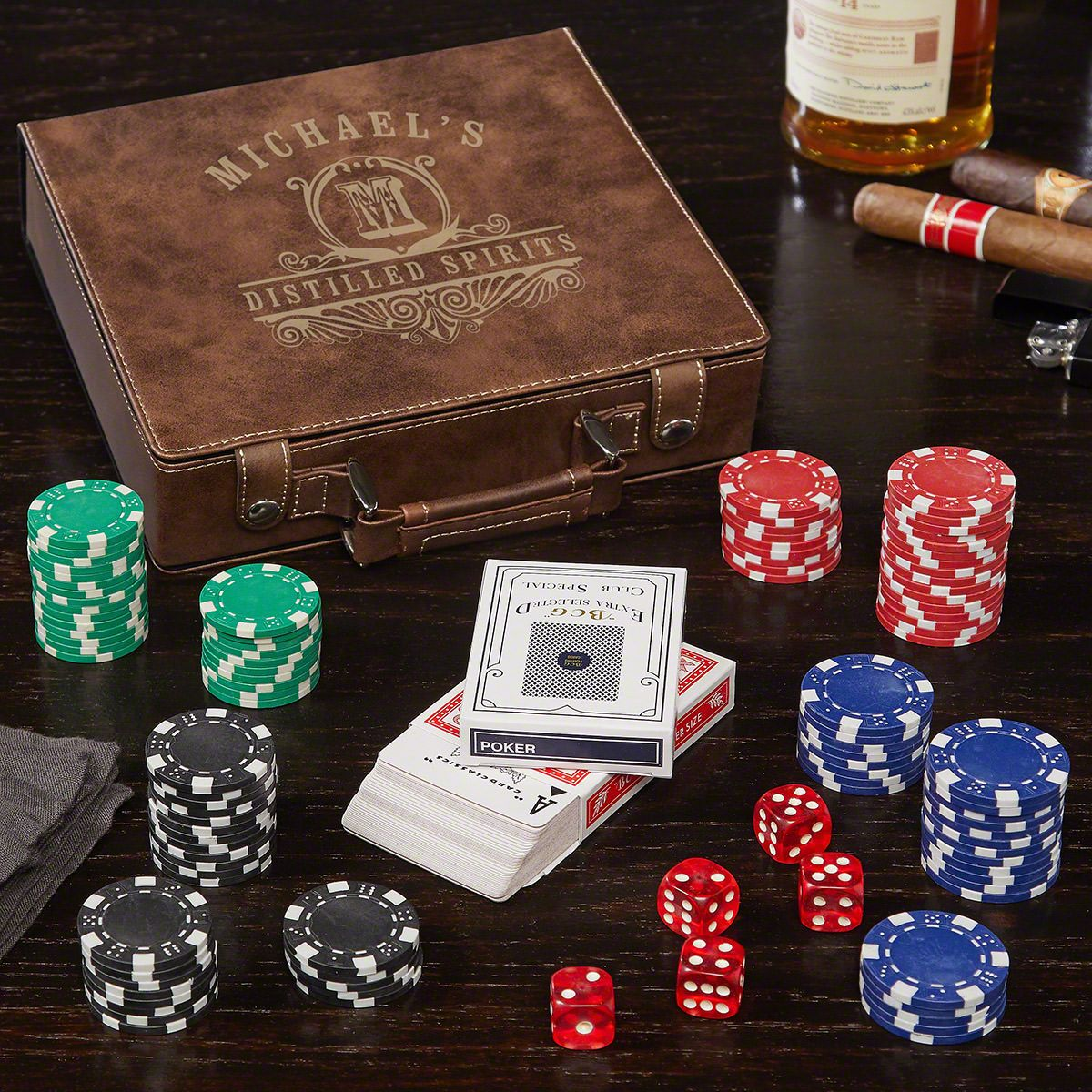 Carraway Brown Personalized Poker Set
